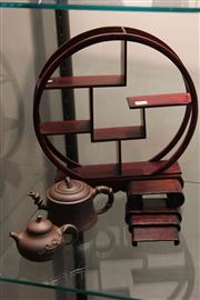 Sale 8047 - Lot 41 - Chinese Timber Display Stand, together with a set Timber Graduated Stands and 2 Teapots.