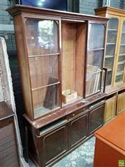 Sale 8559 - Lot 1067 - Large Victorian Mahogany Bookcase, with three astragal doors & three drawers (distressed/ requiring restoration) (Key in Office)