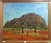 Sale 8609 - Lot 2048 - Piers Bourke - Ayres Rock, 1971, oil on board, 49.5 x 60cm, signed and dated lower right -