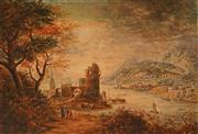 Sale 8642A - Lot 5068 - Artist Unknown (English School) - Village Scene by the Lake 25 x 35.5cm