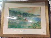 Sale 8648B - Lot 2059 - Julie Goodwin - Inlet-Wilsons Promontory, watercolour, frame: 64 x 79cm, signed lower right