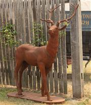 Sale 8871H - Lot 4 - A cast iron stag with watchful pose, height approx 150cm