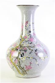 Sale 8972M - Lot 676 - Crackle glazed Chinese vase decorated with sparrows, mark to base, repaired rim, chip to mouth (H36cm)