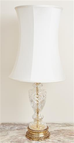 Sale 9099 - Lot 12 - A pair of crystal table lamps of baluster form with ivory silk shades. Total Height 84.5cm