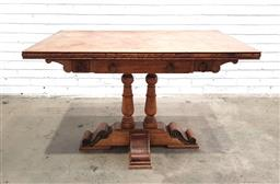 Sale 9151 - Lot 1280 - Marquetry top games table with 3 drawers (h76 x w198 x d75cm)