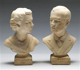 Sale 9156 - Lot 297 - Composite busts of the Queen and Prince (H:18cm) together with a royal visit magazine
