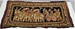 Sale 9154 - Lot 1026 - Gilt Indian tapestry depicting a procession of Elephants