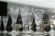 Sale 8032 - Lot 35 - 4 Antique Glasses incl Pair with Etched Grape and Wheat Pattern