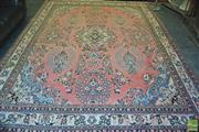 Sale 8291 - Lot 1094 - Persian Wool Hamadan, with medallion and floral garlands on salmon ground (360 x 270cm)