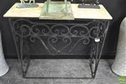 Sale 8312 - Lot 1002 - Marble Top Garden Table on Iron Base