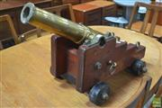 Sale 8338 - Lot 1084 - Brass Cannon on Timber Base