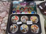 Sale 8407T - Lot 2318 - 6 Silver Plated Enamelled Princess Coins