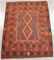 Sale 8445K - Lot 88 - Fine Kyber Afghan Kilim Rug , 252x196cm, Finely handwoven in Northern Afghanistan using high quality local wool. Rich and earthy col...