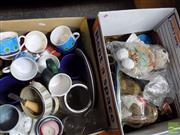 Sale 8464 - Lot 2287 - 2 Boxes of Sundries incl Teddy Bear & Mugs