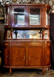 Sale 8516A - Lot 73 - A French Empire style credenza, with marquetry timber and rouge marble top (with subtle earlier repair to marble), supporting a curv...