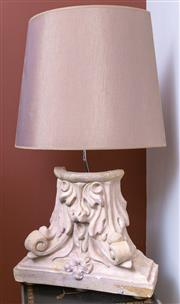Sale 8568A - Lot 143 - A capital form composite table lamp with half shade, total H 72cm