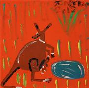 Sale 8624 - Lot 525 - Trevor (Turbo) Brown (1967 - 2017) - Mother Kangaroo and Joey Find Water 51 x 51cm