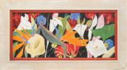 Sale 8819 - Lot 2051 - Denise Barry - Tropical Flowers (triptych) 29.5 x 67cm (overall)