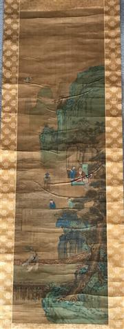 Sale 8815A - Lot 86 - A Chinese scroll depicting figures in a landscape with gold silk border, image size 130cm x 35cm