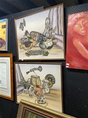 Sale 8910 - Lot 2083 - Pair of African Interior Still Life Paintings