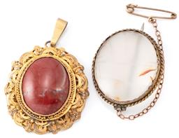 Sale 9149 - Lot 541 - AN ANTIQUE SILVER GILT STONE SET BROOCH AND PENDANT; brooch set with a translucent banded agate, 32 x 27mm with safety chain attache...