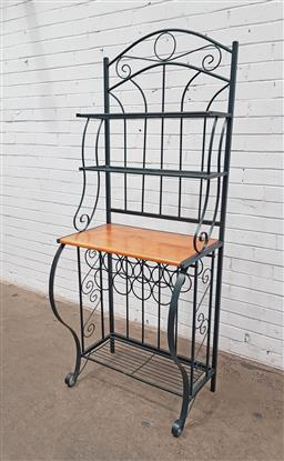 Sale 9134 - Lot 1516 - Metal bakers stand with timber shelf and wine rack below (h176 x w71 x d50cm)
