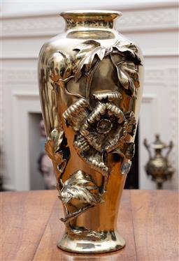 Sale 9190H - Lot 201 - A large and heavy antique brass vase with cast floral adornment C:1900. Height 38cm