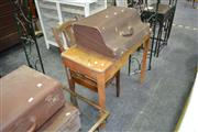 Sale 8019 - Lot 1040 - Timber Sewing Table w Single Drawer & Timber Framed Chair