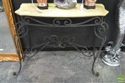 Sale 8312 - Lot 1009 - Marble Top Hall Table with Wrought Iron Base