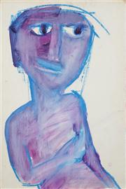 Sale 8466A - Lot 5005 - Anne Hall (1946 - ) (2 works) - Portraits in Purple/Blue; Stripes 56 x 38cm, each (sheet size)