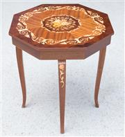 Sale 8515A - Lot 79 - A Sorento musical inlaid sewing table, H 50cm