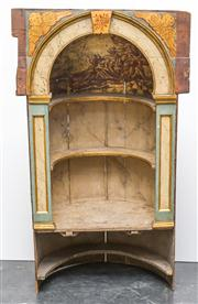 Sale 8516A - Lot 74 - An unusual 18th century French hand painted & gilded dome topped vestibule. 163cm high x 94cm wide x 50cm deep