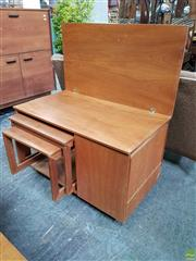 Sale 8585 - Lot 1040 - McIntosh Teak Nest of Tables in Fold Over Top Unit