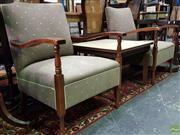 Sale 8562 - Lot 1011 - Pair of Timber Framed Armchairs with Upholstered Back & Seat