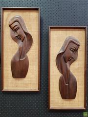 Sale 8566 - Lot 1044 - Pair of Vintage Teak Framed Busts
