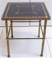 Sale 8568A - Lot 144 - A nest of two brass tables with tooled black leather tops, larger H 40 x W 44 x D 35cm