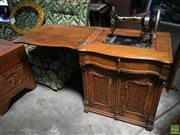 Sale 8649R - Lot 160 - Antique White Brand Sewing Machine in Timber Cabinet with Ornately Carved Detail (Some Damage) (H: 74 W: 66 Closed D: 51cm)