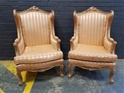 Sale 9014 - Lot 1022 - Pair of Louis XV Style Gilt Bergeres, upholstered in alternating matt/ gloss striped salmon fabric, raised on cabriole legs (h:121 x...