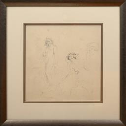 Sale 9150J - Lot 1 - NORMAN LINDSAY (1879 - 1969) Nude Studies pencil 43 x 43 cm Bloomfield galleries COA to verso