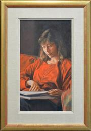 Sale 8254 - Lot 533 - Brian James Dunlop (1938 - 2009) - Girl Studying 56.5 x 31.5cm