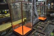 Sale 8361 - Lot 1088 - Two Oriental Display Cases with Orange Velvet to Base