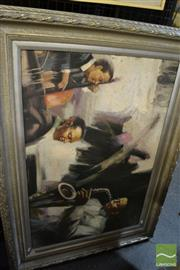 Sale 8471 - Lot 2076 - Artist Unknown (XX) Jazz Trio , acrylic on canvas, 60 x 90cm, unsigned