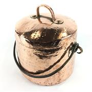 Sale 8760D - Lot 50 - French Hammered Copper Boiling Pot with Swing Handle and Lid D: 21cm (rim)