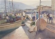 Sale 8722A - Lot 5095 - Robert Lovett (1930 - ) - Fishing Port 49 x 68cm