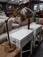Sale 8740 - Lot 1042 - Pair of Modern Industrial Table Lamps with Vermont Antique Brass Finish