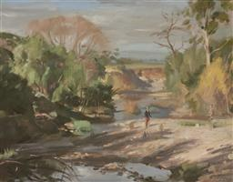 Sale 9109 - Lot 585 - Bruce Fletcher (1937 - ) Monaro District (Figures by a Stream) oil on canvas 56 x 72 cm (frame: 69 x 85 x 5 cm) signed lower right