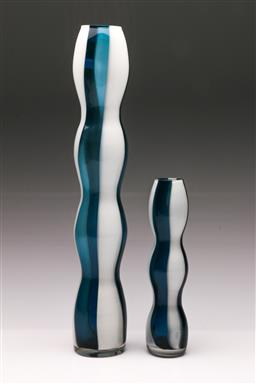Sale 9098 - Lot 60 - A Graduated Pair of MCM Two Colour Hooped Glass Cylinder Vases, H:41cm