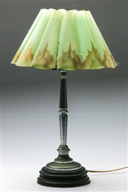 Sale 9168 - Lot 8 - A vintage table lamp with original flame shade (H:58cm)