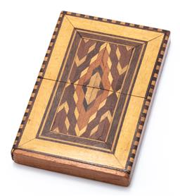 Sale 9180E - Lot 169 - An inlaid timber card case, Length 10.5cm