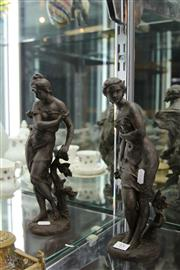 Sale 7998 - Lot 15 - Pair of Art Noveau French Spelter Figures of Maidens, one fingers damaged